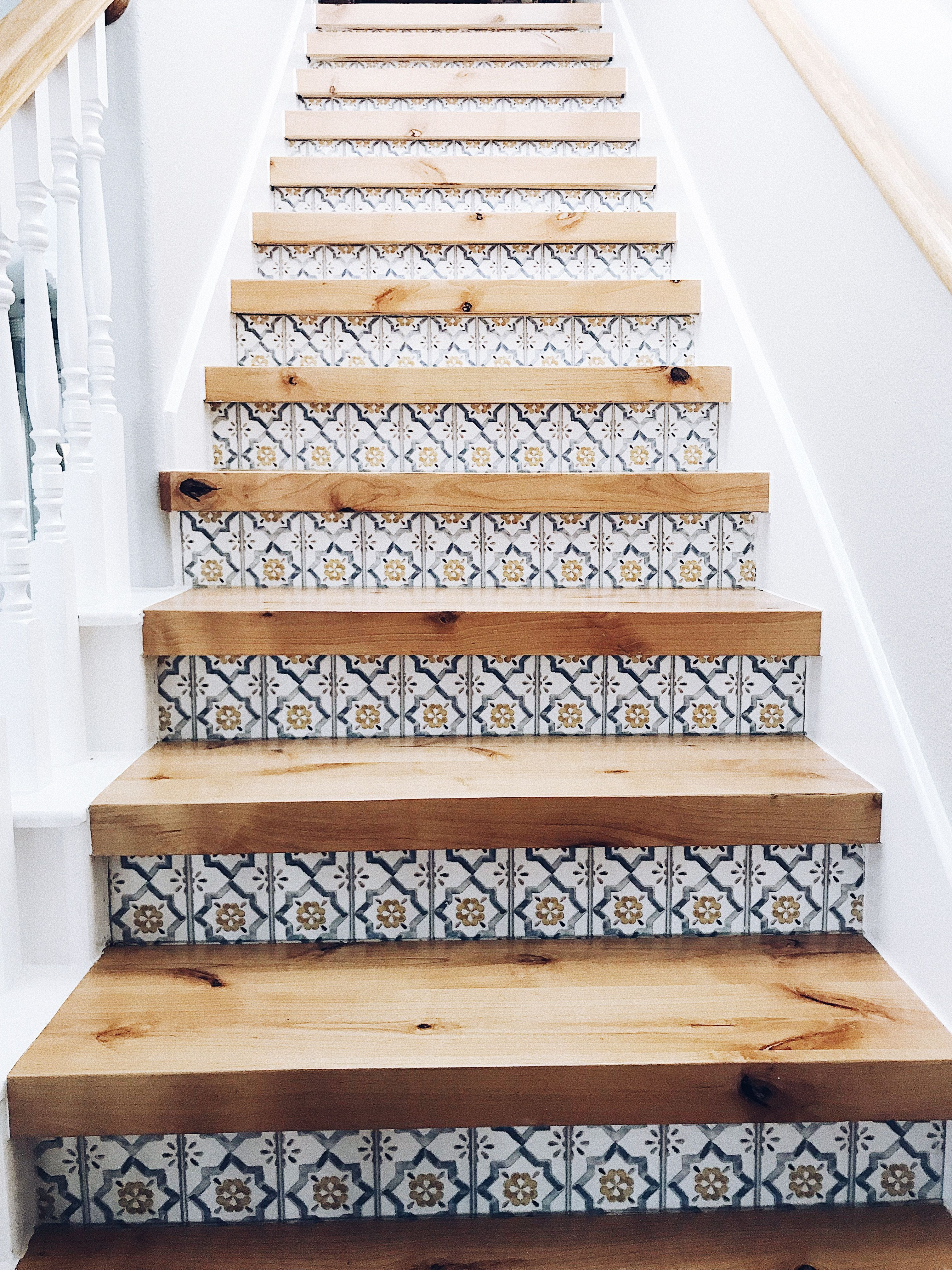 Wood And Tiled Risers Stairs Stairs Woodstairs Woodenstairs | Wood Stairs With Tile Risers | Grey | Diy | Design | Mosaic | Stone