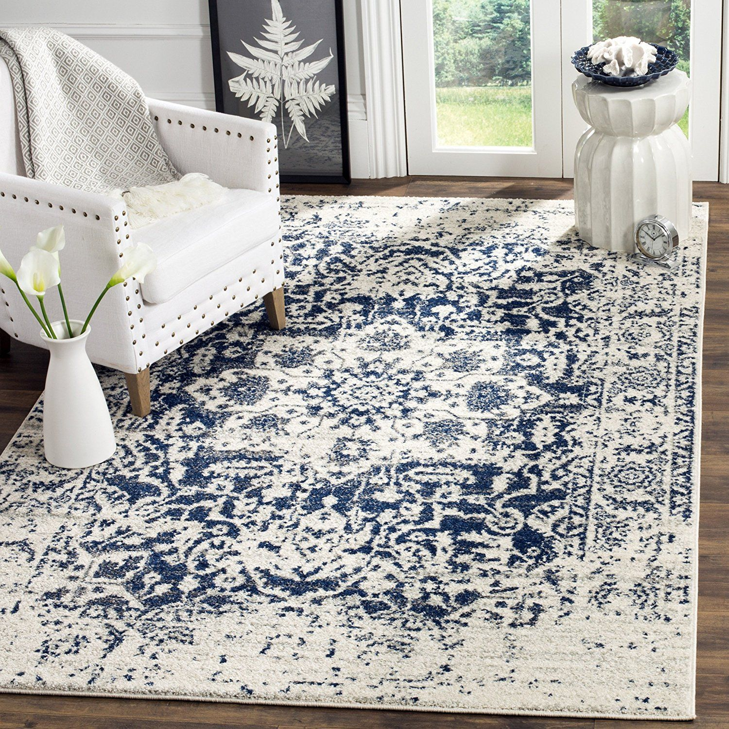 Amazon Com Safavieh Madison Collection Mad603d Cream And Navy Area Rug 9 X 12 Kitchen Dining Interer Interery Spalni Dom