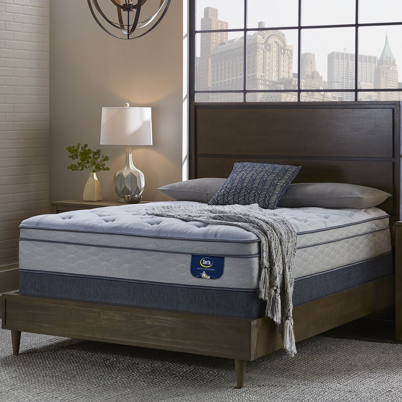 Serta westview super pillow top cal king-size mattress set
