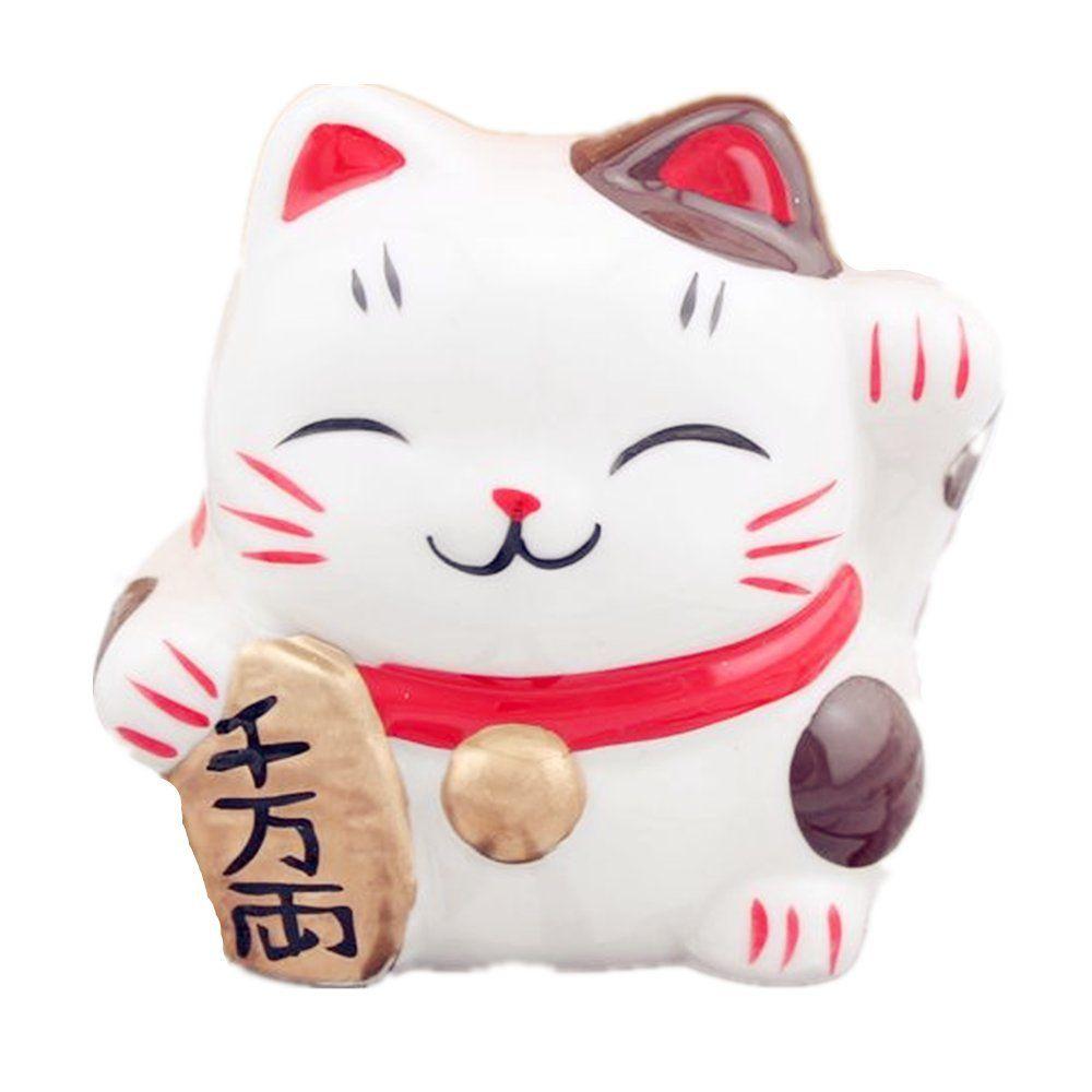 Maneki Neko Chat Japonais Tirelire En Porcelaine Porte
