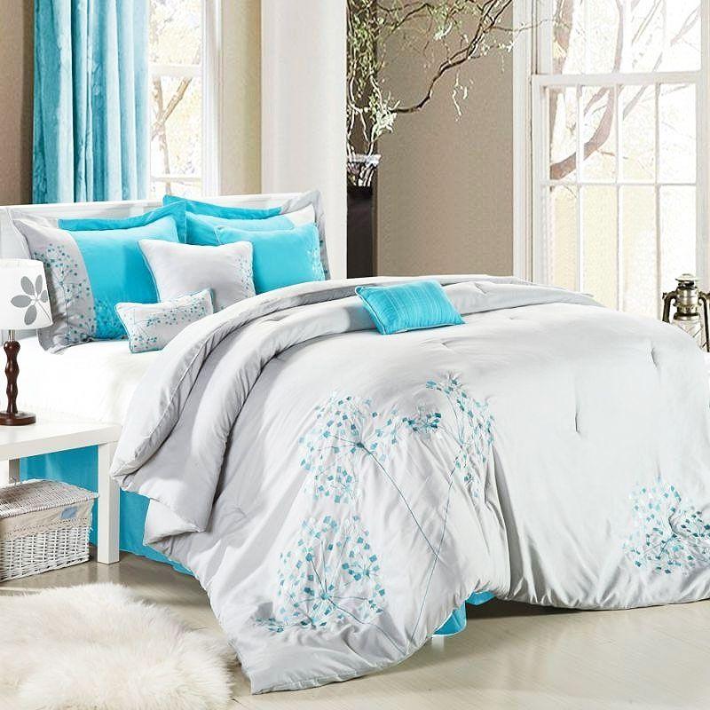 Teal Green Purple Comforters Flower 8 Piece Grey Comforter
