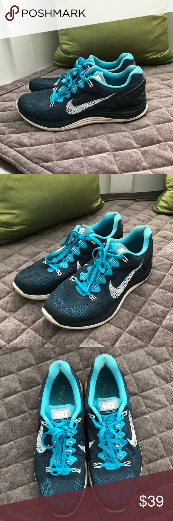 detailed look 68df2 65b47 Men s Nike Lunarglide 5 running shoes Men s Nike Lunarglide 5 running shoes.  Dark blue bright blue combo. Worn but still in good condition.