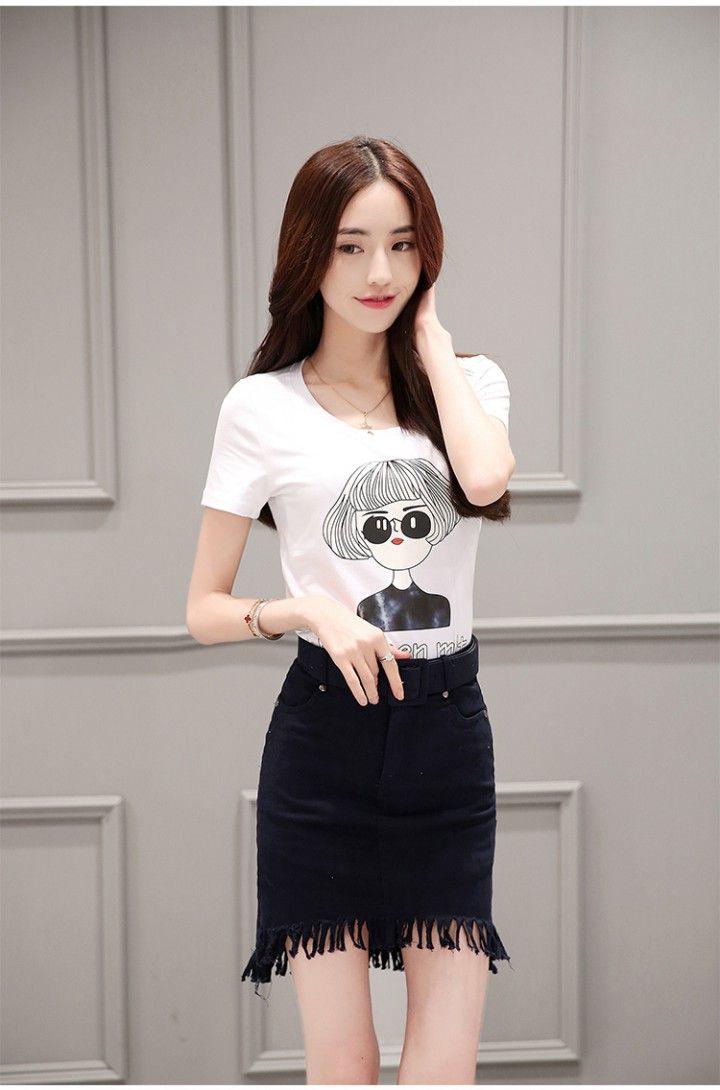 66a009883d9 CW39630 Printing fashion T-shirt summer short skirt for women ...