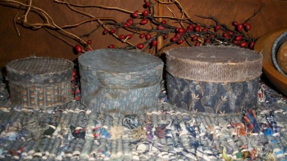 Primitive Blue Fabric Covered Stacking Boxes by countrypresence