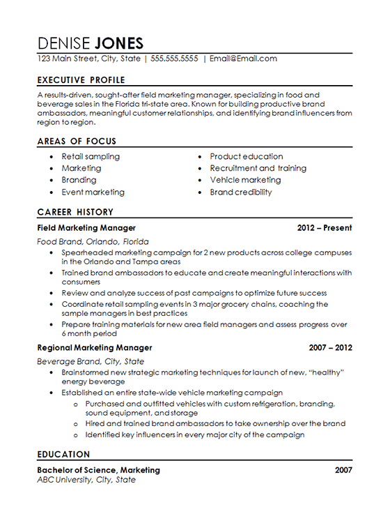 Regional Marketing Resume Example For Field Marketing Professional With Expertise In The Healthy Food And Beverage Industry Marketing