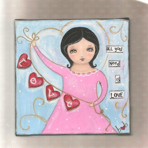 All you Need is LOVE  original mixed media painting by bonnesinger, $20.00