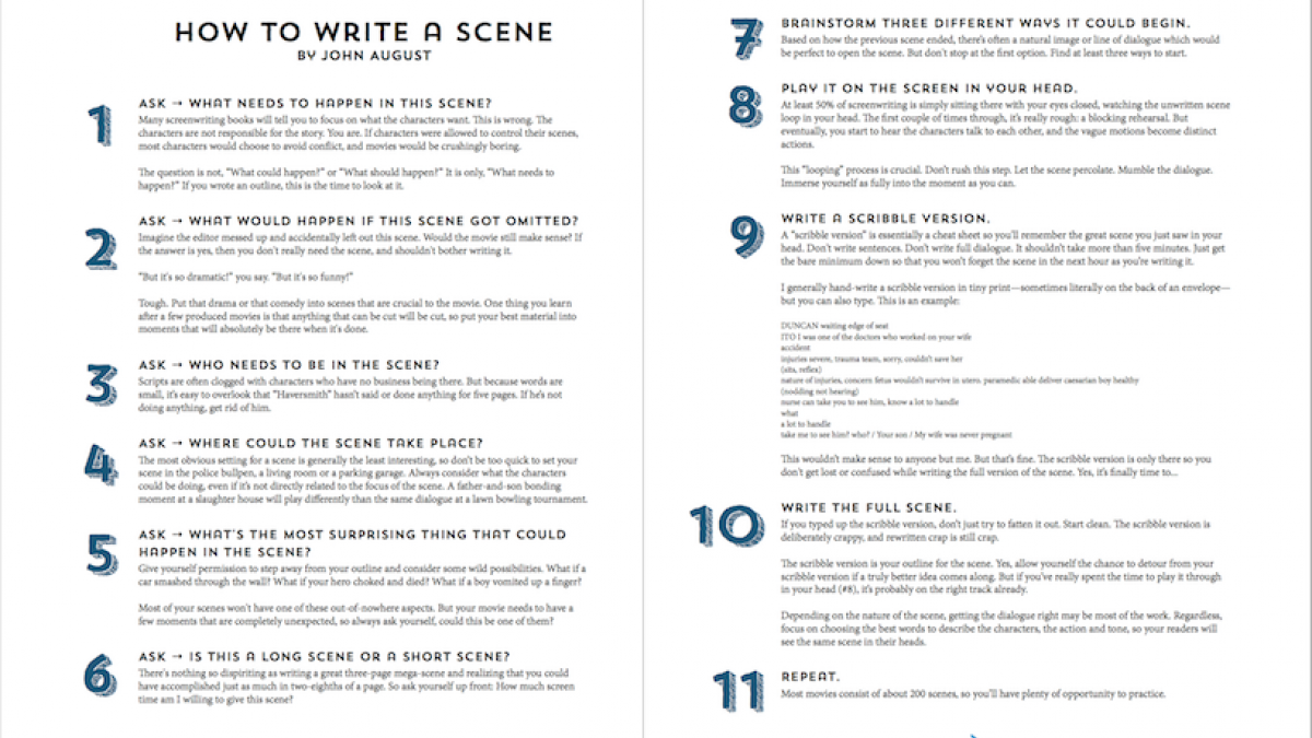 how to write a scene between two people