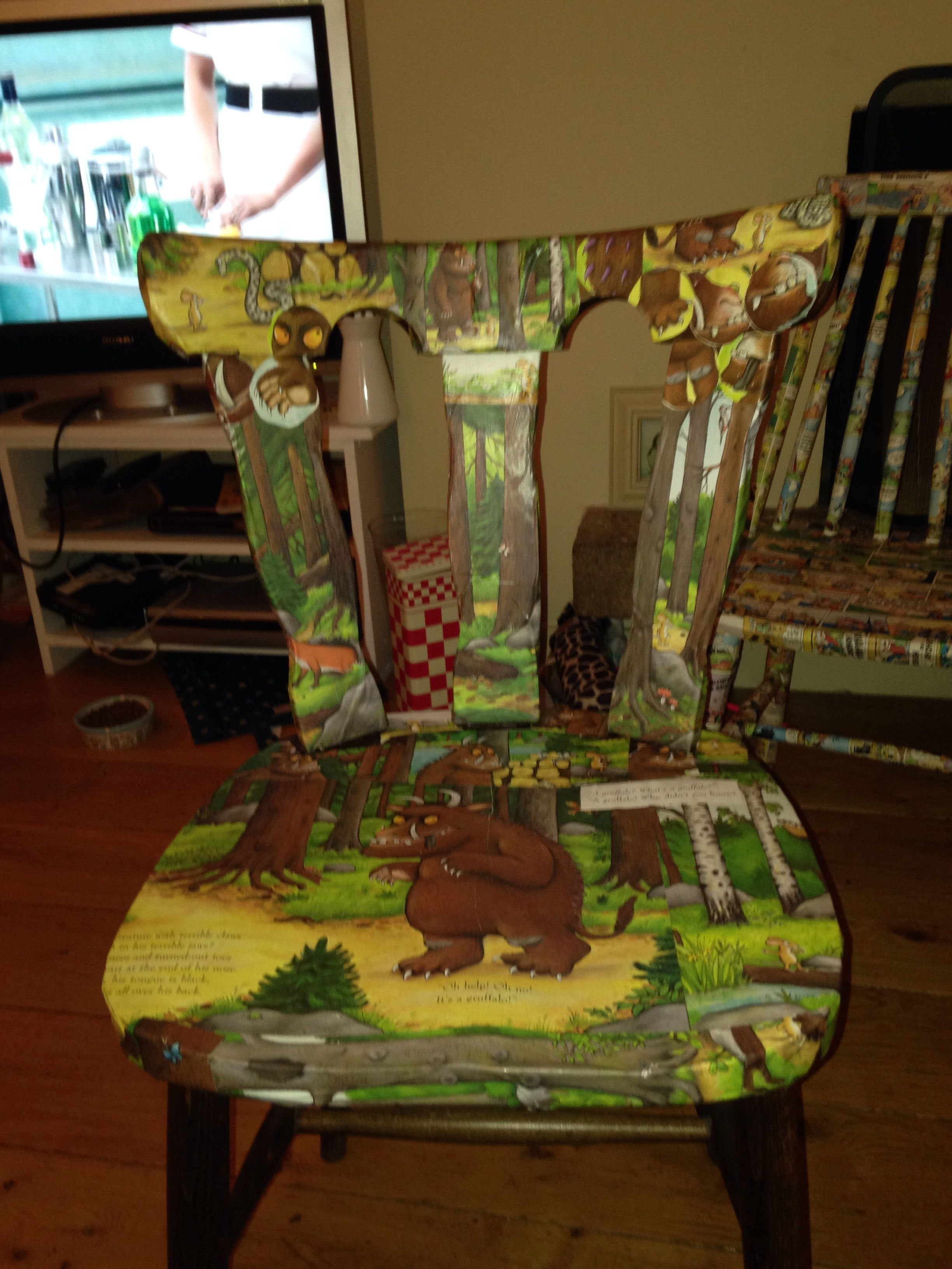 Uncategorized hand painted childrens table and chairs foter - Decoupage Gruffalo Chair