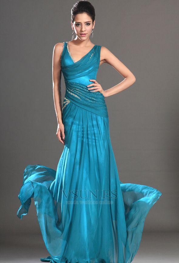 Vestido+de+noche+turquesa+Escote+Asimètrico+Drapeado+Lateral+