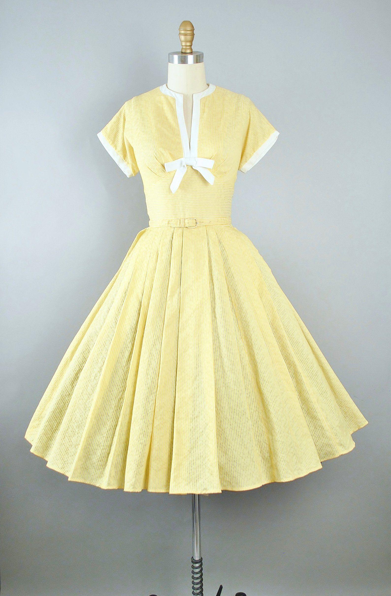 Vintage 50s Dress 1950s Yellow Cotton Sundress Textured Etsy Cotton Sundress 1950s Dress Vintage 1950s Dresses [ 2421 x 1588 Pixel ]