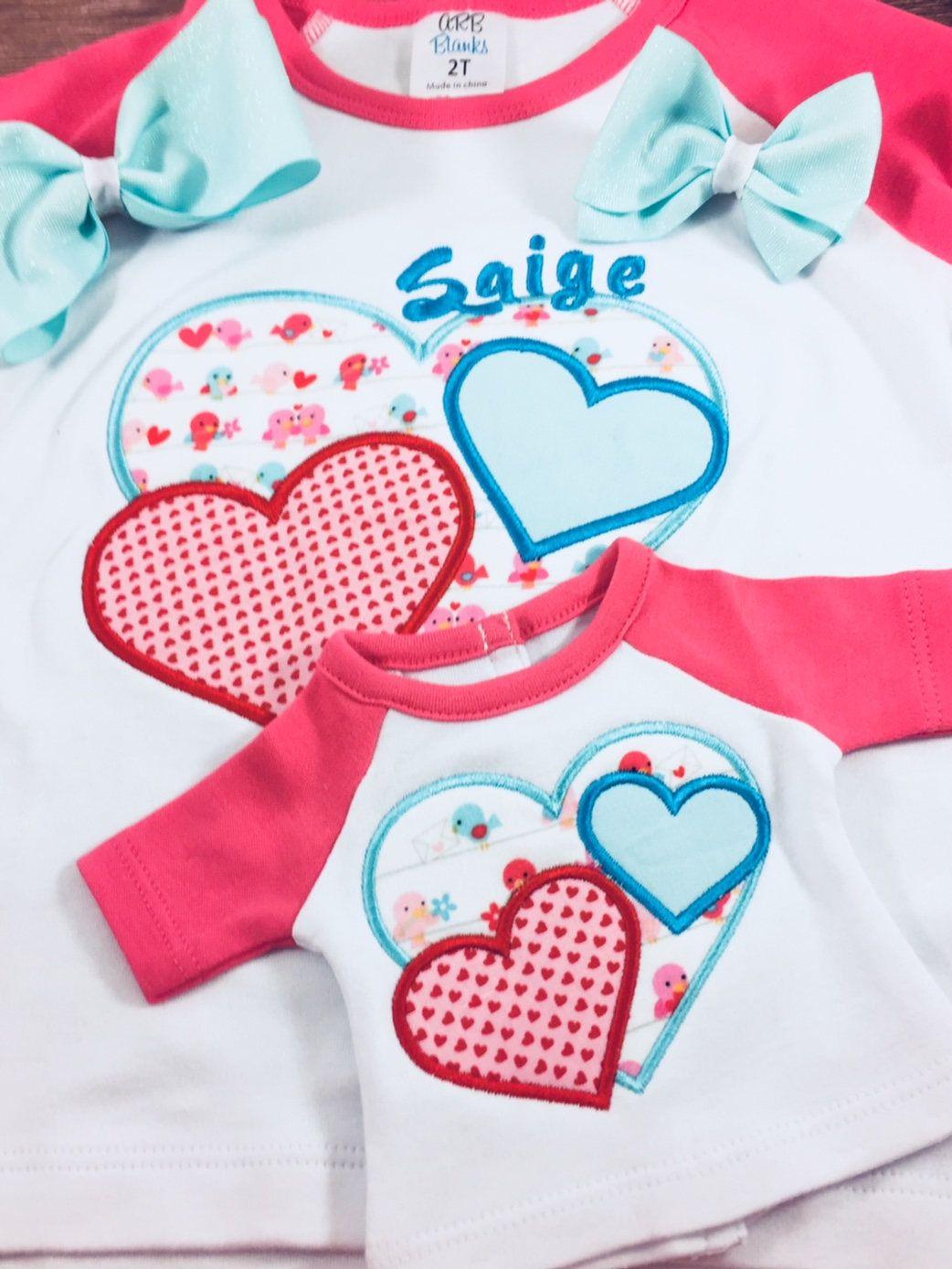 Matching Girl Dollgirl Valentine Shirtvalentine Giftgirl Etsy Small Easter Gifts Girls Valentine Shirt Valentines Shirt