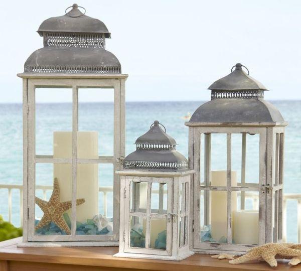 strand deko ideen windlichter kerzen seestern seeglas. Black Bedroom Furniture Sets. Home Design Ideas