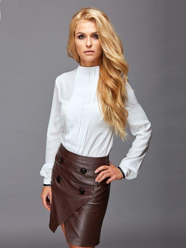 Шелковая элегантная белая блузка - прямые женские блузки в ...