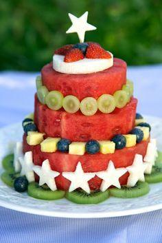 Wassermelonen Obst Torte Für Ein Gesundes Kindergeburtstag Buffet