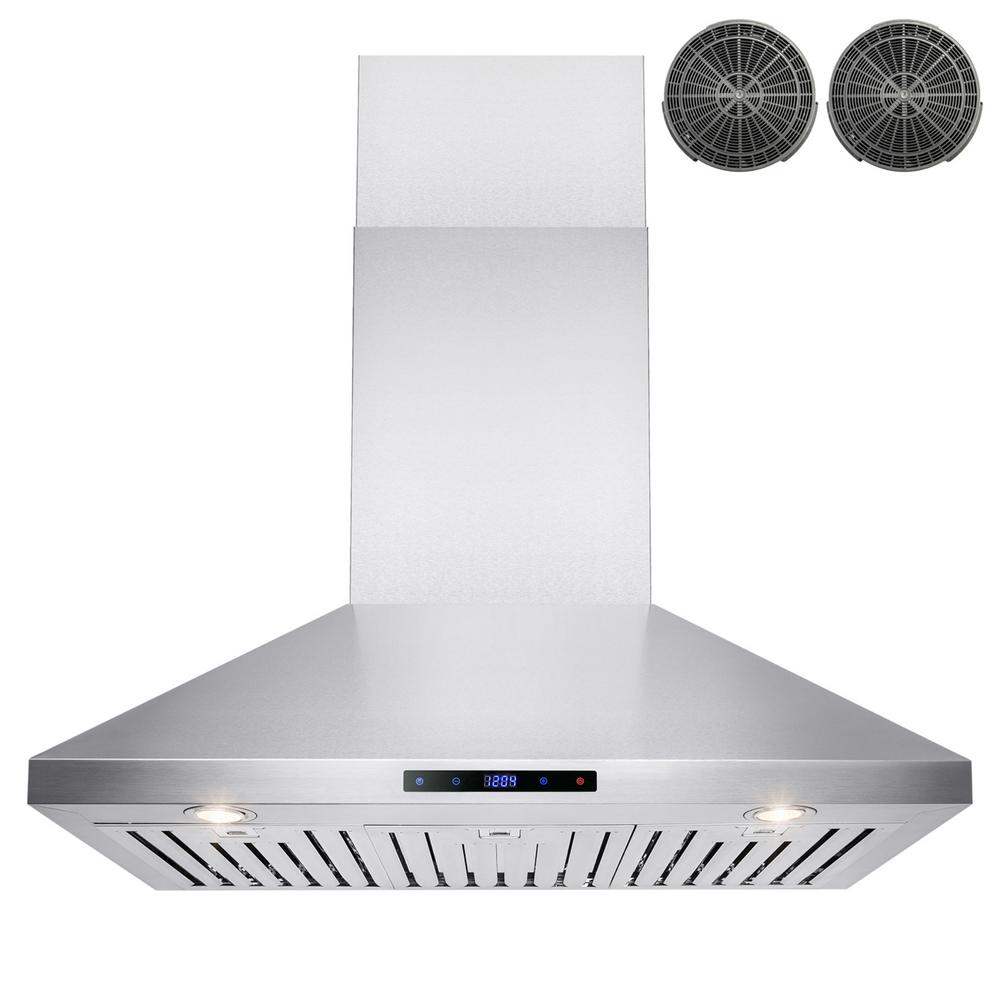 Akdy 36 In Convertible Kitchen Wall Mount Range Hood In Stainless Steel With Touch Control And Carbon Filter Rh0229 The Home Depot Wall Mount Range Hood Range Hood Kitchen Ventilation