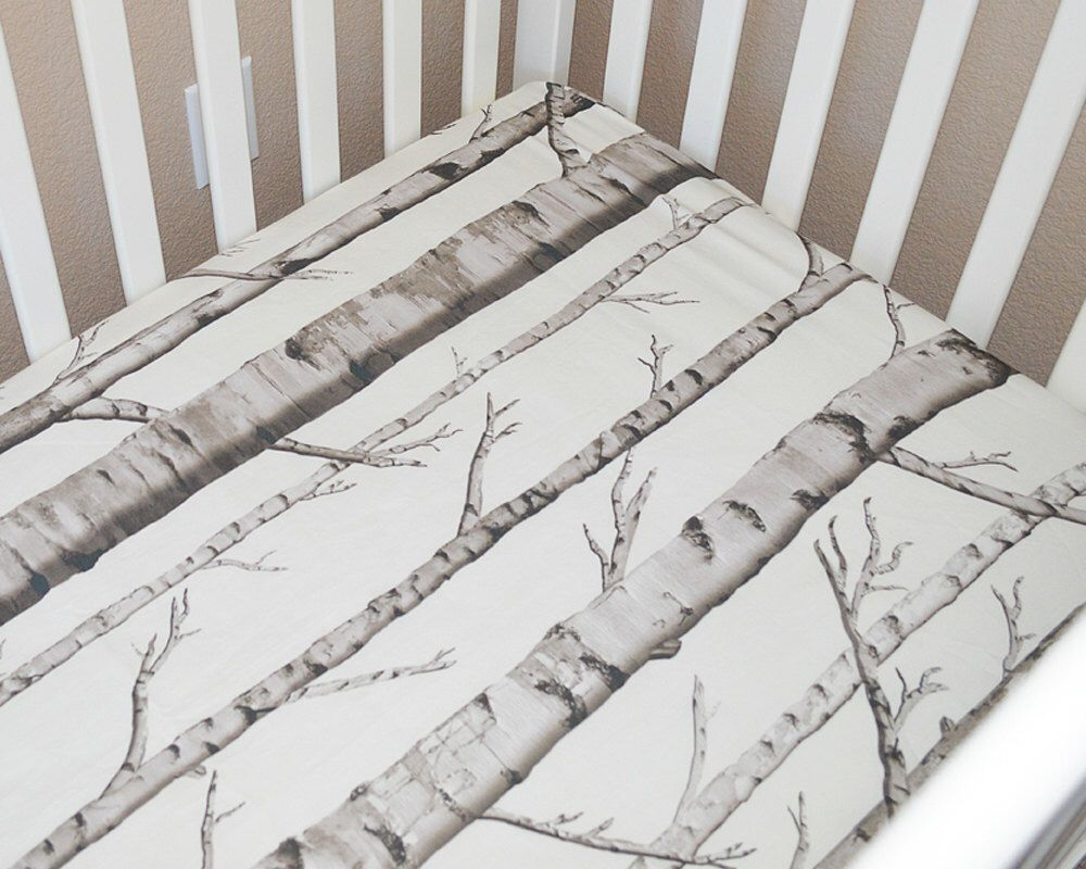 birch crib sheet woodland crib set rustic baby bedding fitted