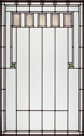 "George Grant Elmslie for Louis Sullivan - Leaded Glass Light Screen for the Henry B. Babson House, Riverside, Illinois. Circa 1907-1908. 43-3/16"" x 27-3/8"" x 1/4"" (109.7cm x 69.53cm x 0.64cm)."