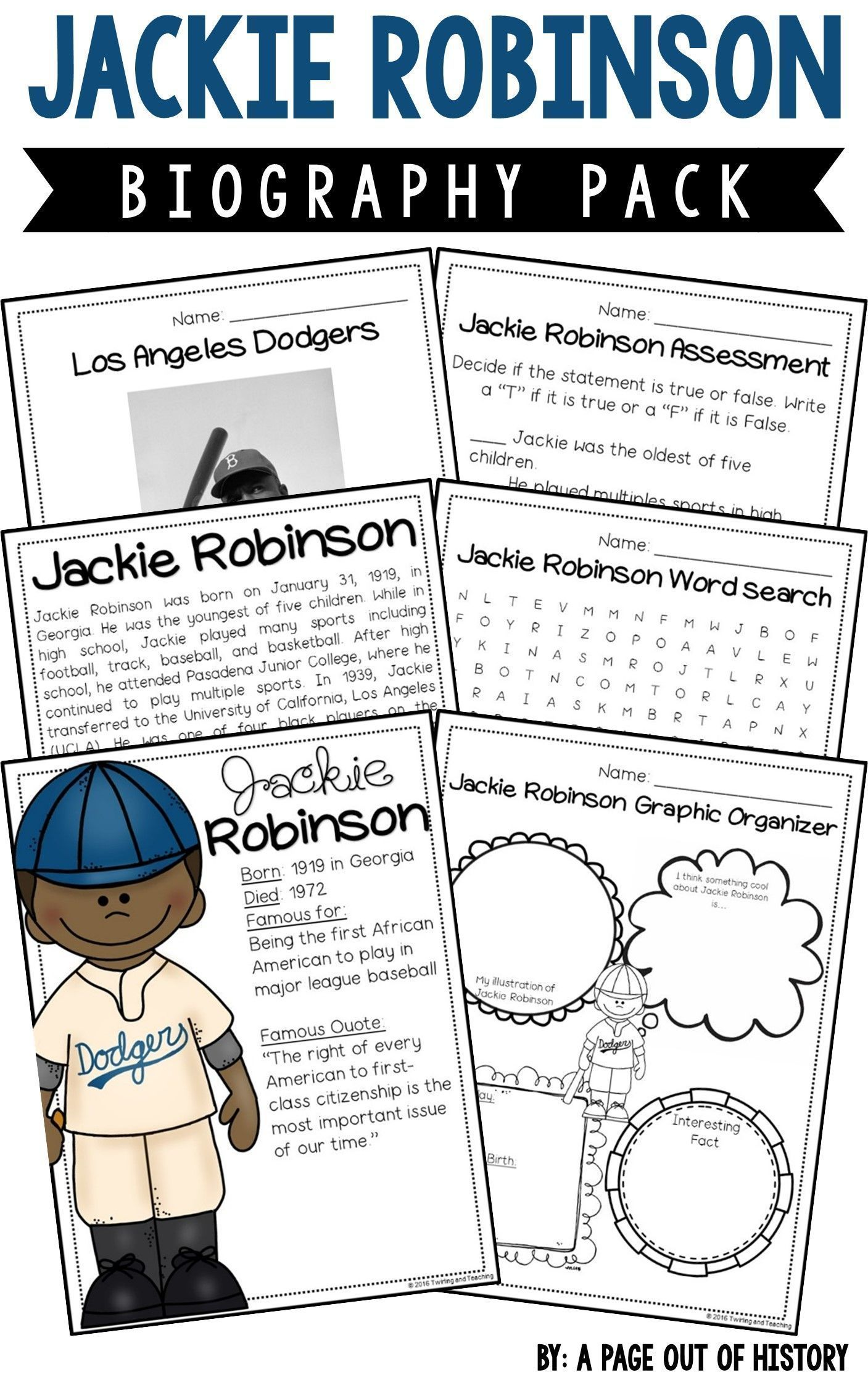 Jackie Robinson Biography Pack Black History Month