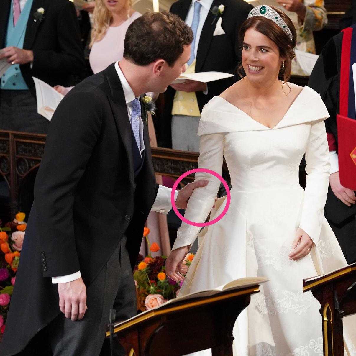 Body Language Experts Analyze Princess Eugenie And Jack Brooksbank S Royal Wedding Eugenie Wedding Royal Wedding Dress Princess Eugenie [ 1207 x 1207 Pixel ]
