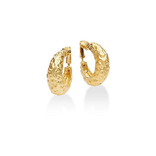"""Kenneth Jay Lane Couture Collection Hammered Hoop Earrings/1.25"""" ($20) ❤ liked on Polyvore featuring jewelry, earrings, gold, hammered earrings, yellow hoop earrings, yellow earrings, kenneth jay lane earrings and hammered hoop earrings"""