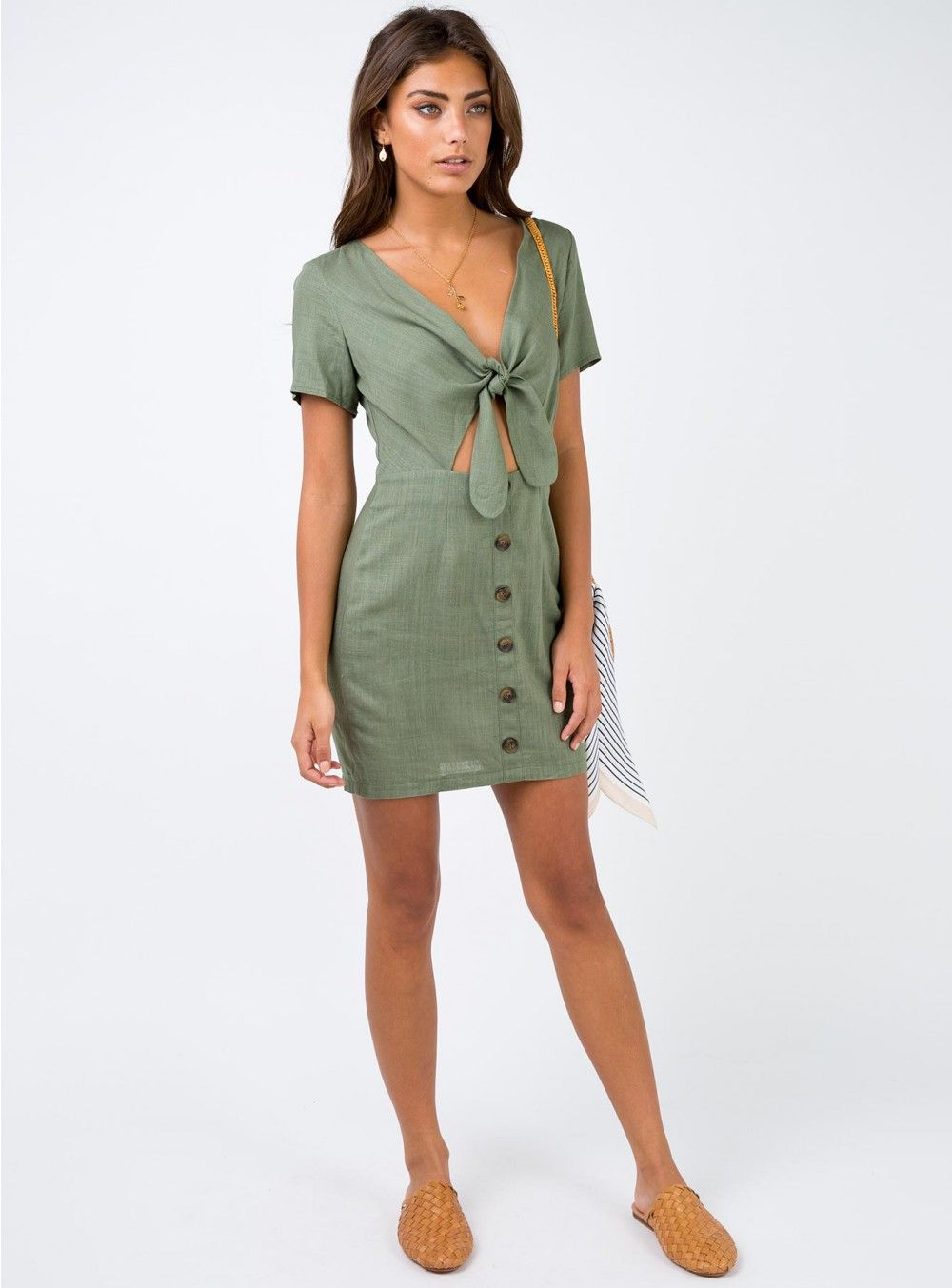 All mine tie front mini dress khaki my style wish list pinterest