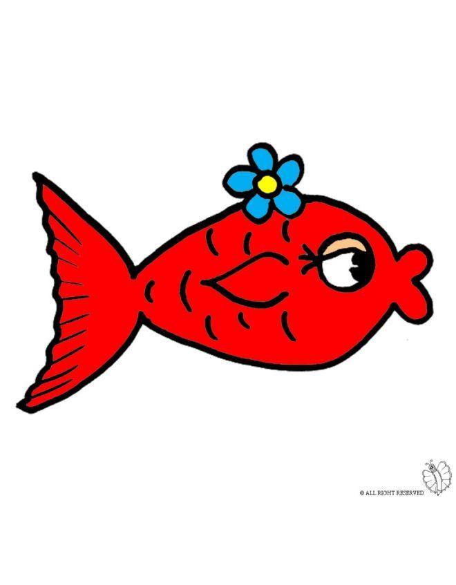 Disegno Di Pesciolino Rosso A Colori Per Bambini Gratis