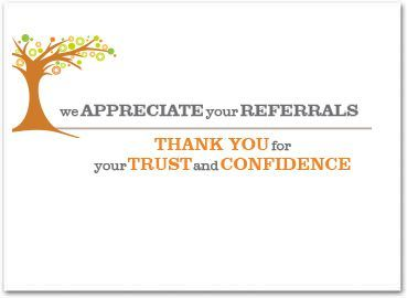 Business Referral Card Thank You For Your Referral Healthcare
