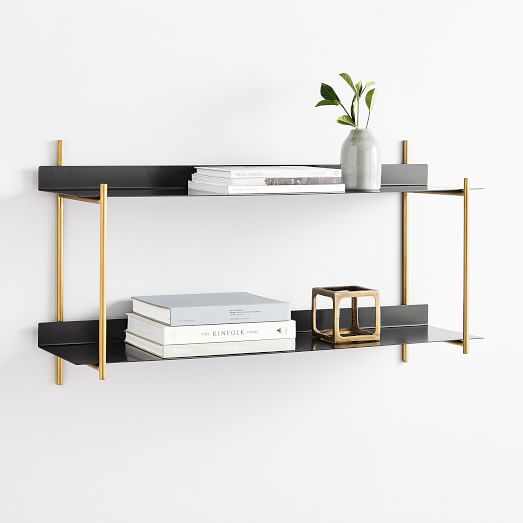 Floating Lines Metal Wall Shelf 2 Tiered In 2020 Wall Shelves Wood Floating Shelves Reclaimed Wood Floating Shelves