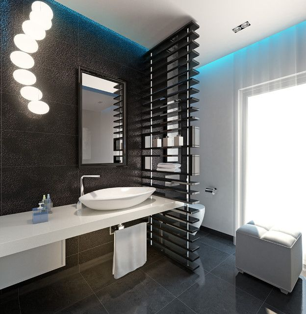 Chick guest toilet modern powder room other metro for Guest bathroom design