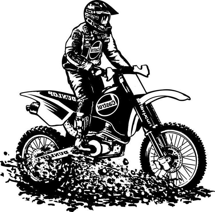 9 Beau De Coloriage Moto Cross A Imprimer Collection Bike Drawing Motor Bike Drawing Racing Stickers