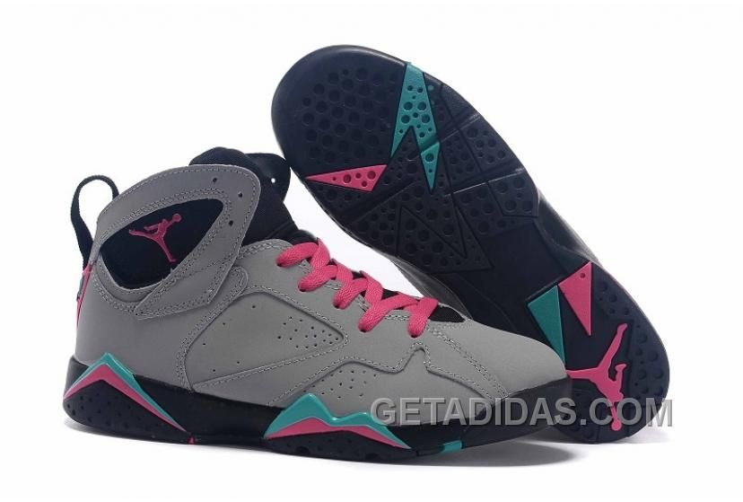 Big Discount 66 OFF Air Jordan 7 GS Miami Vice Custom Wolf GreyPink FlashMint Green For Sale