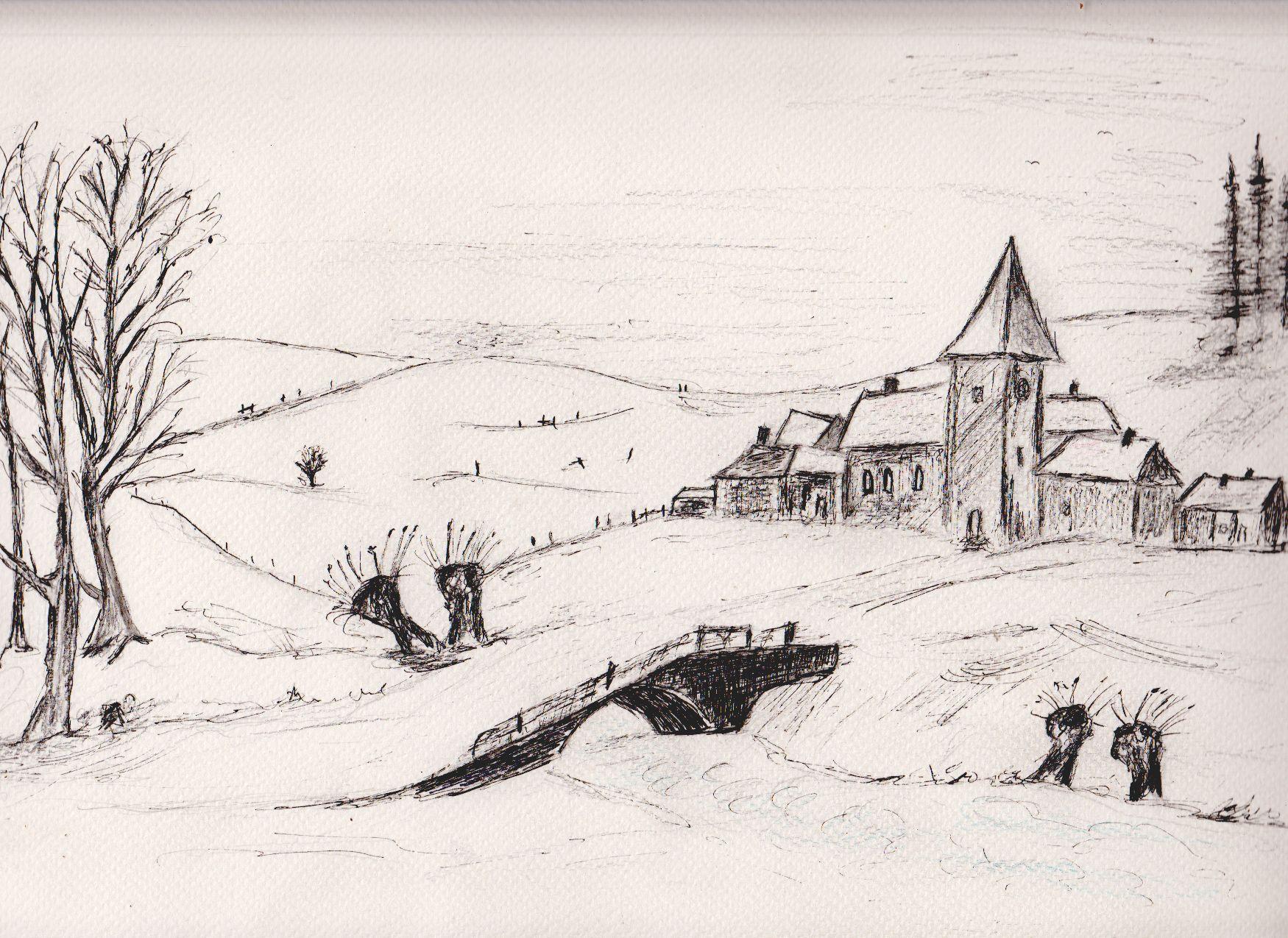 zeichnung winterlandschaft in 2019  winterlandschaft