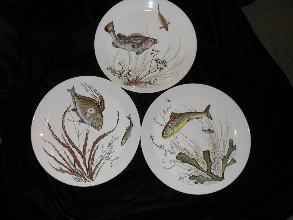 Set of 3 Beautiful Johnson Bros Plates Fish Design 4 and 5 from England & Set of 3 Beautiful Johnson Bros Plates Fish Design #2 4 and 5 from ...