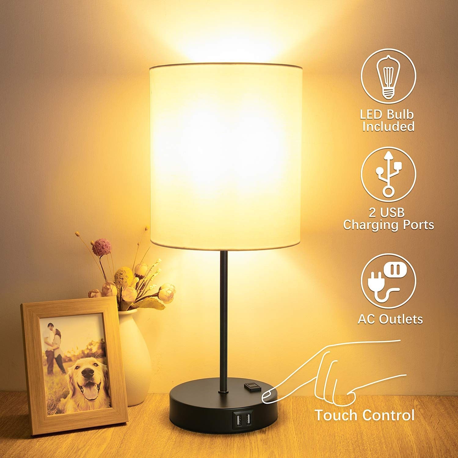 Table Lamp Touch Control 3 Way Dimmable Bedside Lamp 2 Fast Usb
