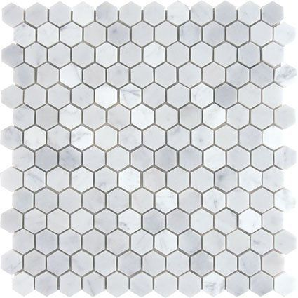 White Marble 1 Hexagon Honed Mosaic Tile Meshed On 12x12 Sheet Mnt Mosaics Http