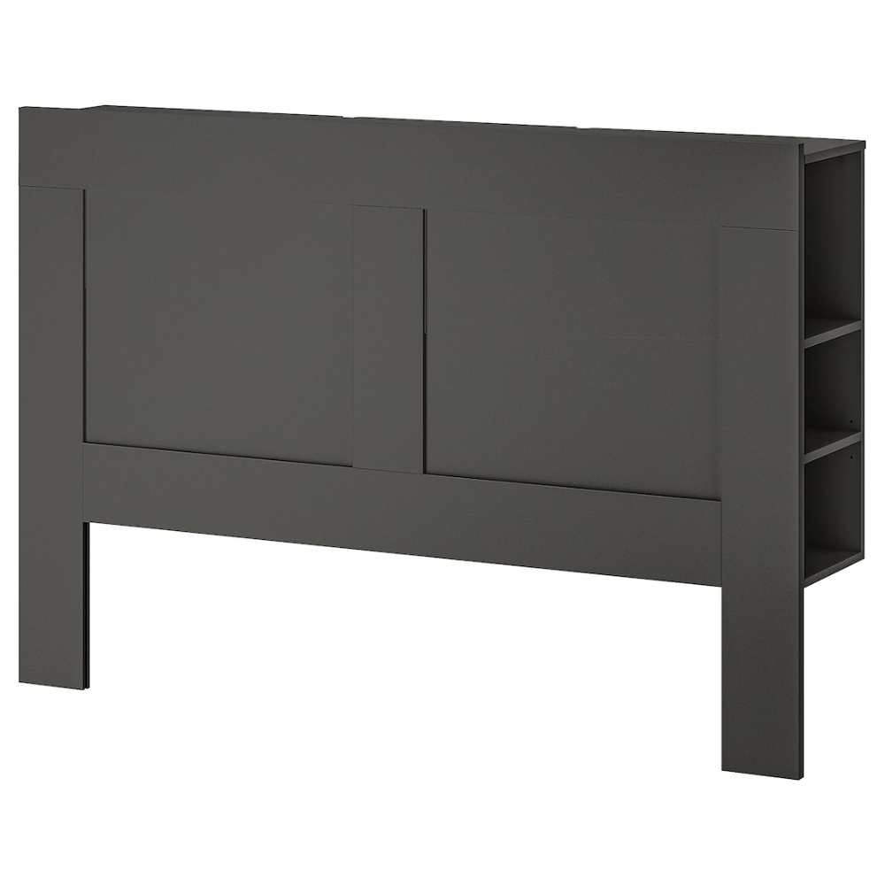 IKEA – BRIMNES Headboard with storage compartment, Gray
