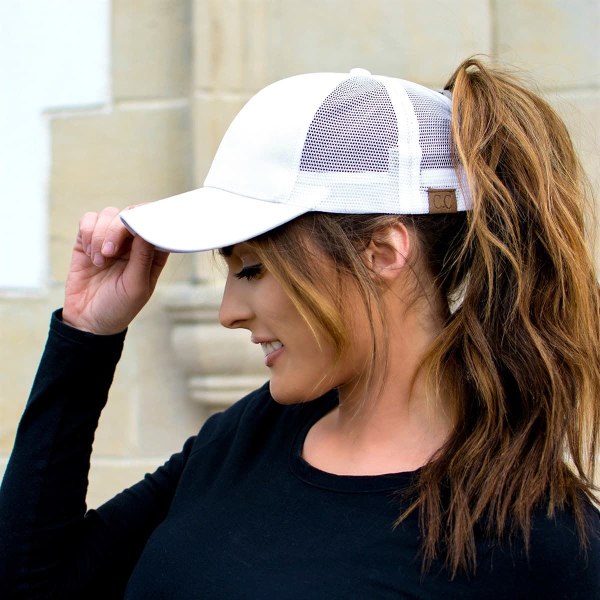 C C Top Knot Trucker Hats Baseball Hat Hairstyles Hat Hairstyles Baseball Cap Hairstyles