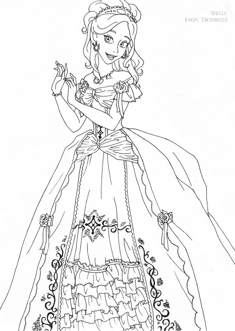 Giselle deluxe gown lineart by