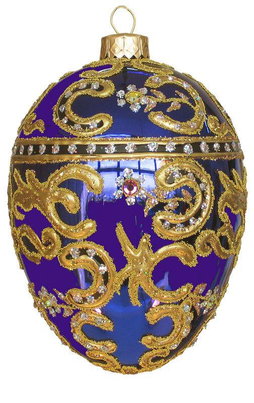 Edward Bar Azov Sapphire Egg glass Christmas ornament $43.00 on eBay