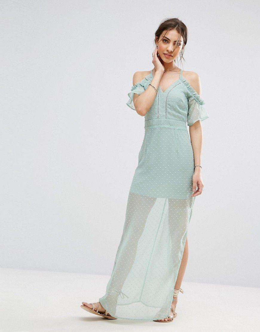 Boohoo cold shoulder strappy chiffon maxi dress