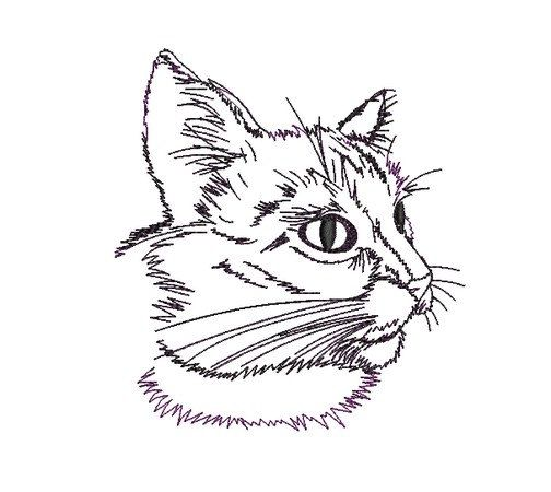Kitty Cat Face Side Profile Instant Download Embroidery