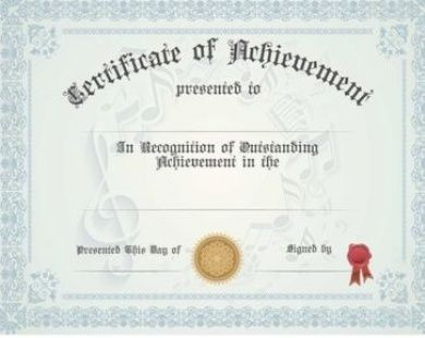 Music Achievement   Generic Certificate Recital decor mc - sample certificate of achievement