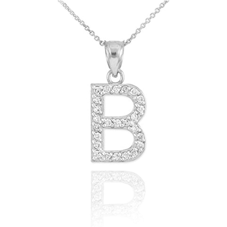 LA BLINGZ 10K Yellow Gold Letter B Initial Pentagon Pendant Necklace