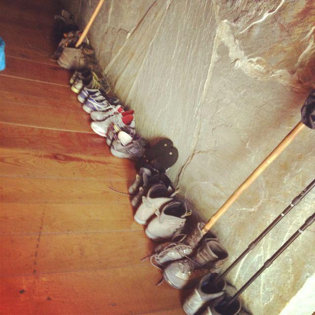 Pilgrim's shoes in the Albergue - Camino de Santiago