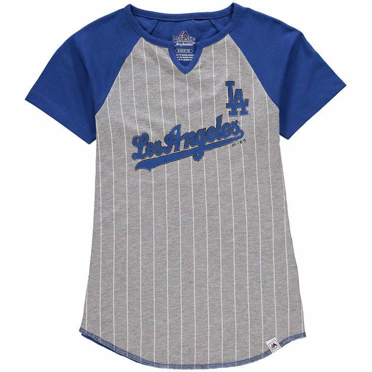 b35fc46f1 Los Angeles Dodgers Majestic Girls Youth From the Stretch Notch Neck  T-Shirt - Gray