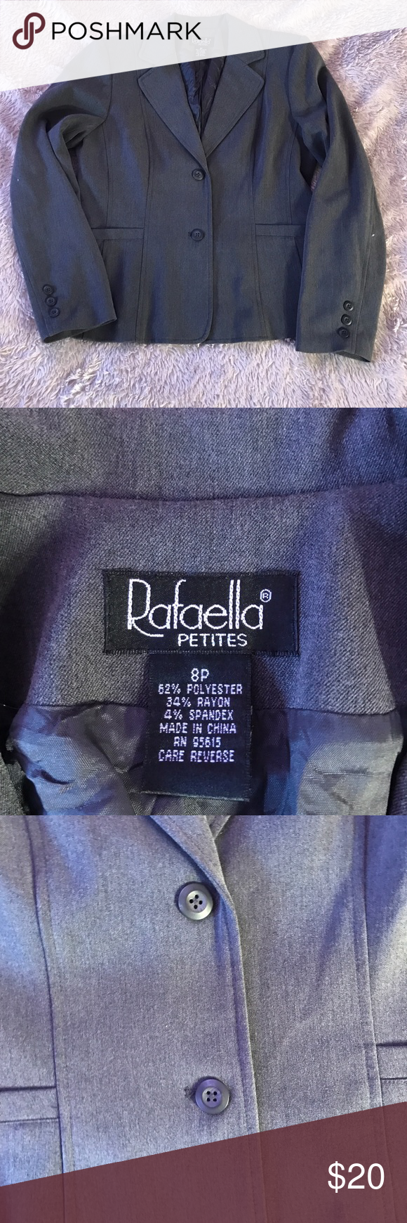 Petite blazer Rafaella charcoal grey blazer in excellent used condition. Size 8 petite. Two front faux pockets Rafaella Jackets & Coats Blazers
