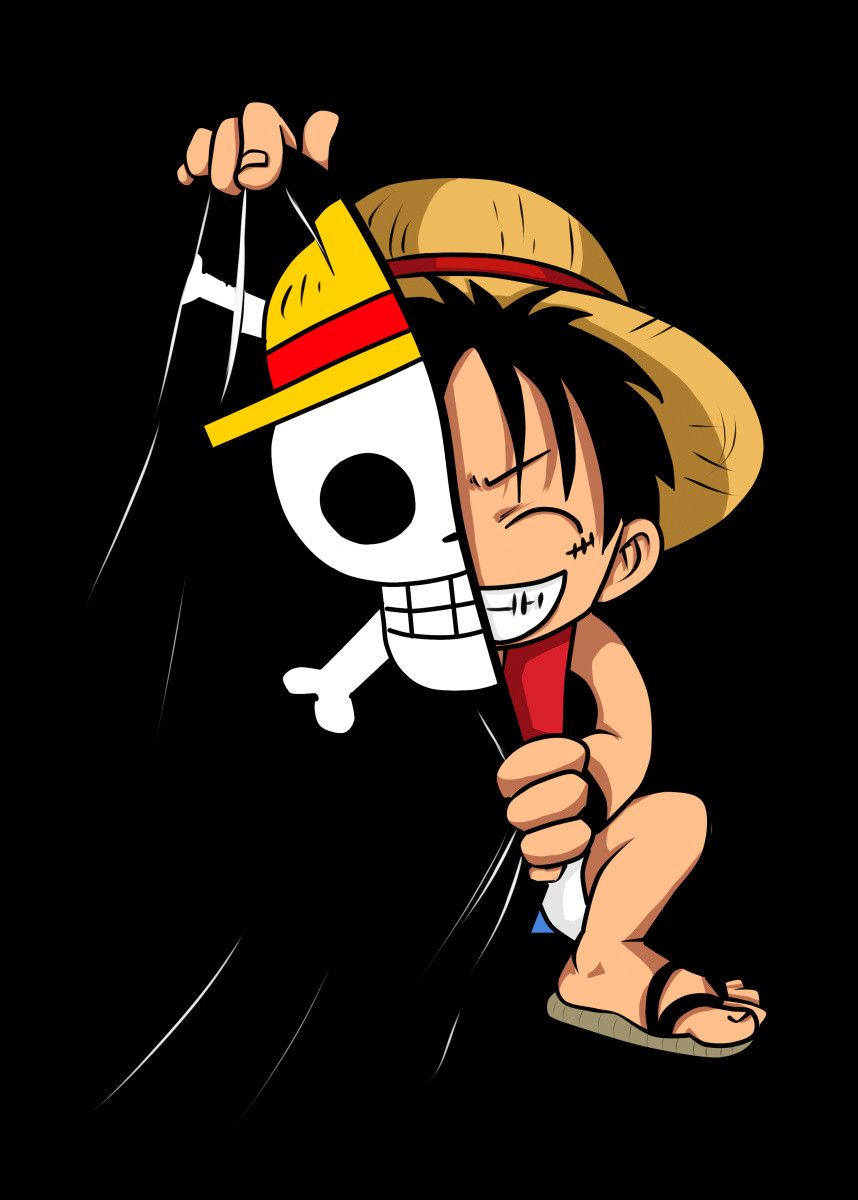 Chibi Luffy Poster By Psychodelicia Displate One Piece Wallpaper Iphone Anime Wallpaper One Piece Logo