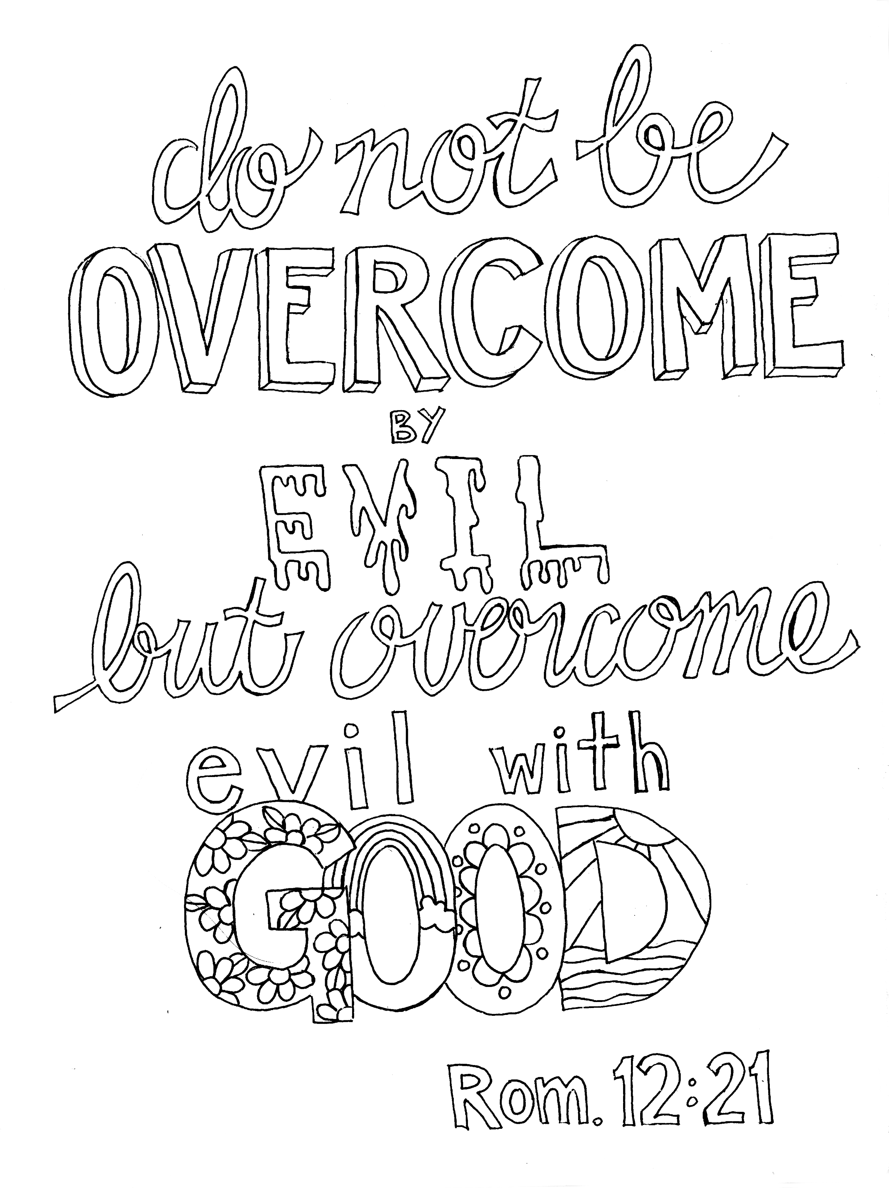 romans 12 21 coloring page u2013 from victory road bible journaling