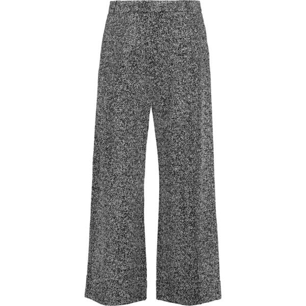 Roland Mouret Rew cropped crepe wide-leg pants (3,355 HKD) ❤ liked on Polyvore featuring pants, capris, black, high waisted wide leg trousers, high waisted wide leg pants, high-waist trousers, highwaist pants and crop pants