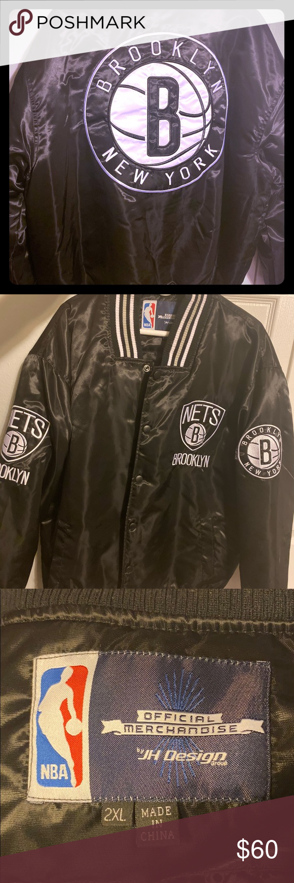Brooklyn Nets bomber/varsity Jacket Brand new! Black with white logos and accents. 2xL. Make me an offer NBA Jackets & Coats Bomber & Varsity #varsityjacketoutfit